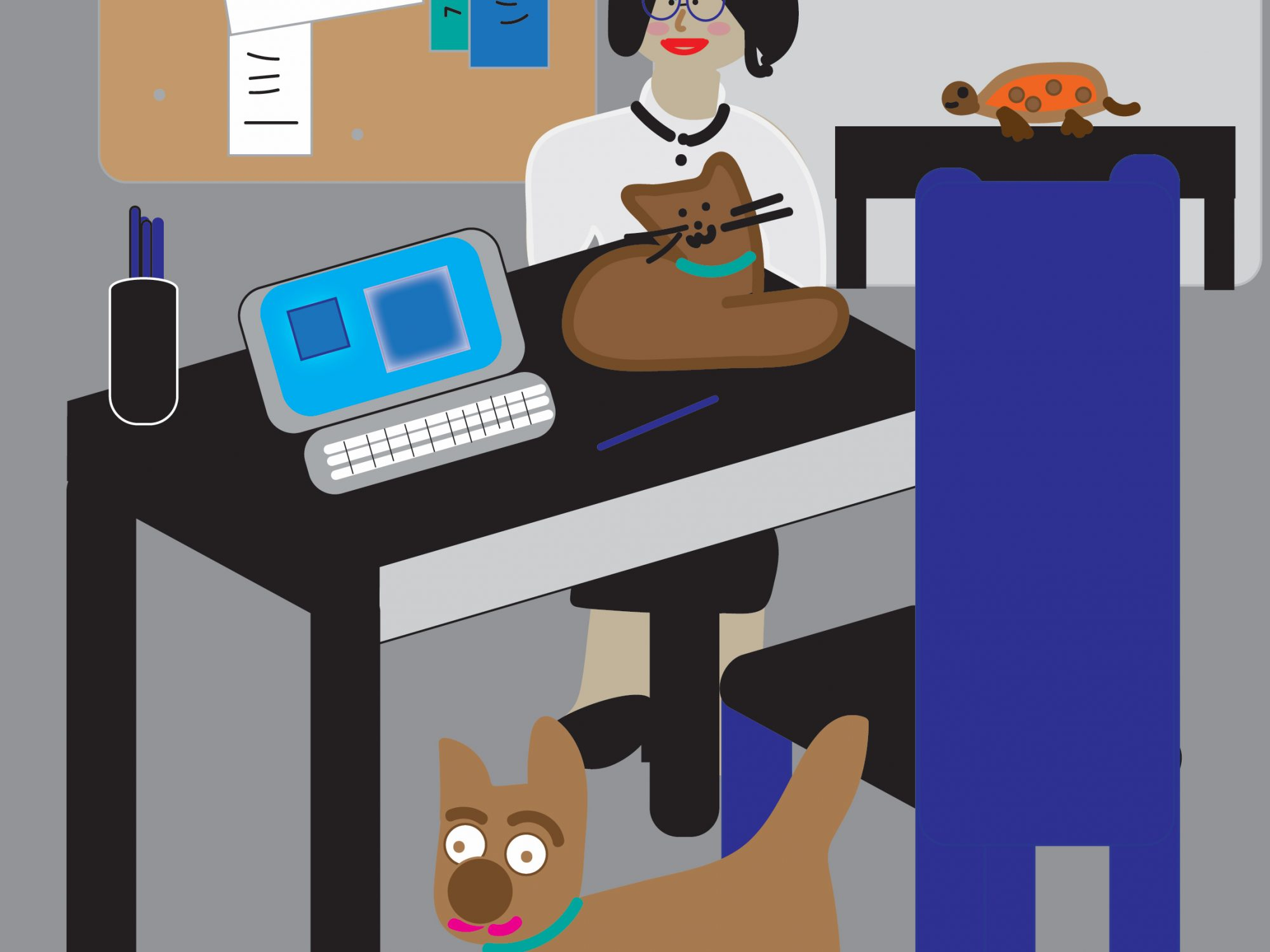 woman at work with dog graphic