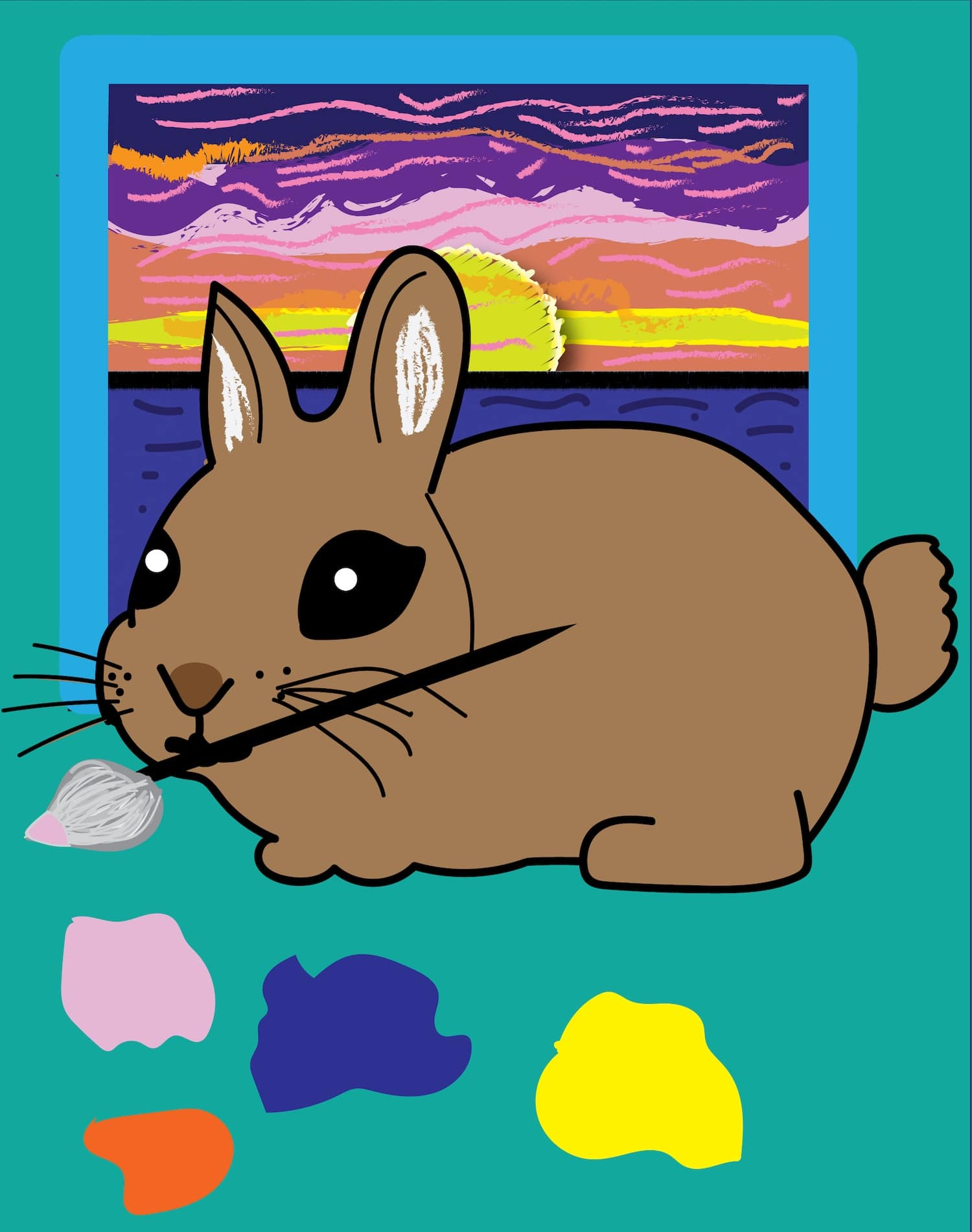 rabbit painting a sunset illustration