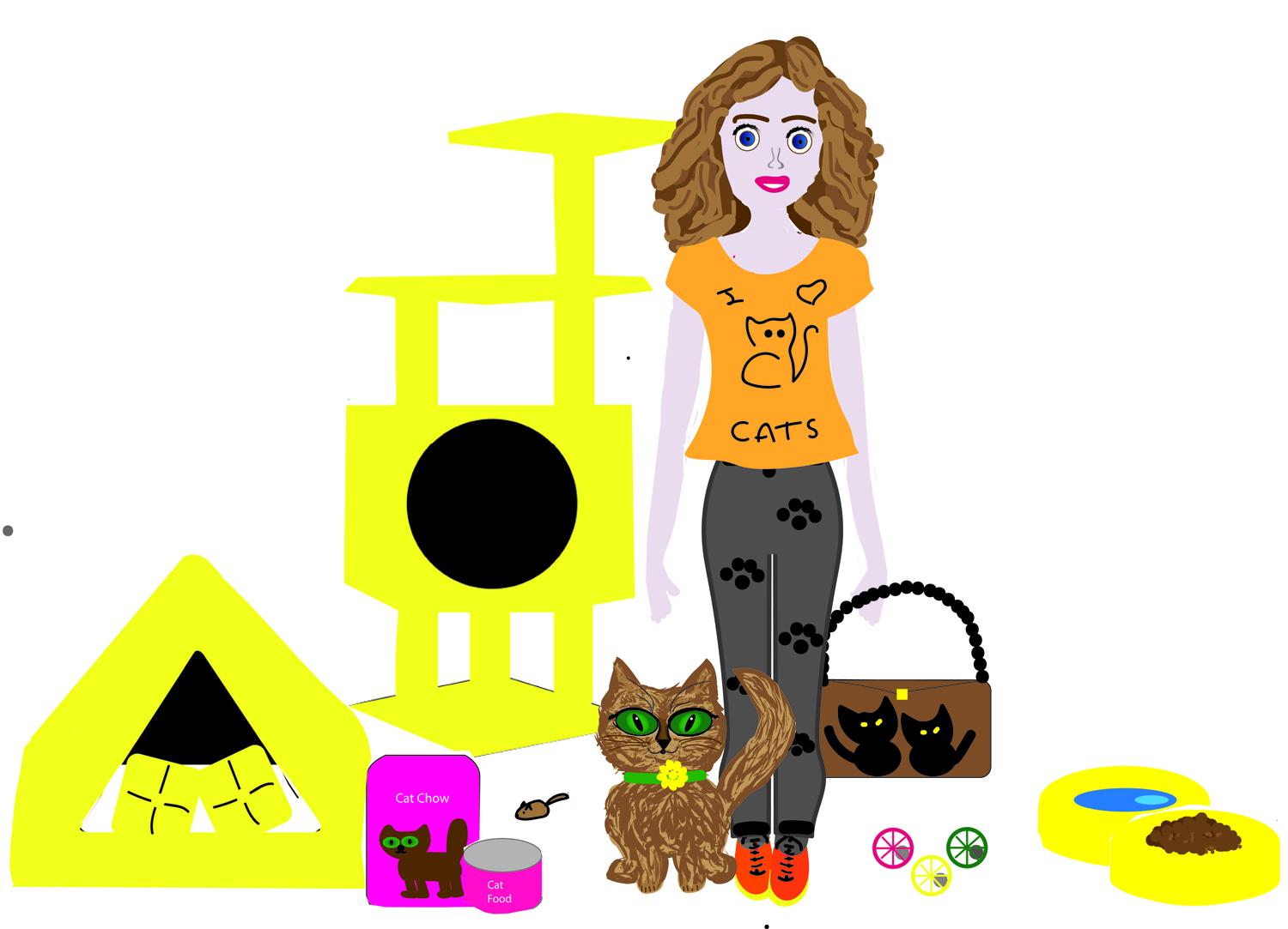 Free cat care and fashion paper doll kit