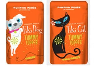 Pumpkin puree food toppers available for a fall treat for dogs and cats
