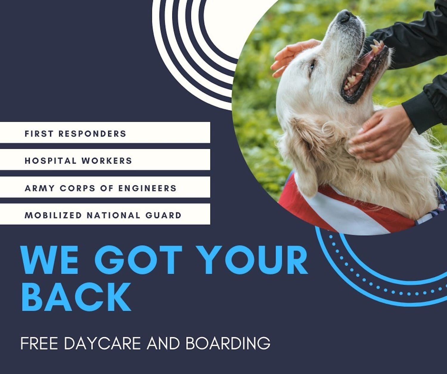 Free boarding and daycare for pets being offered to first responders and others working on front lines during COVID crisis